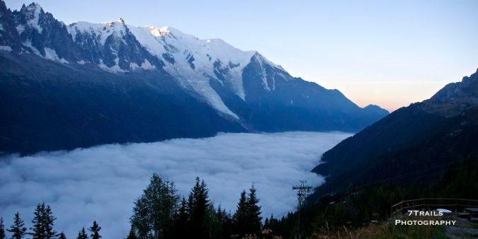 Cloud-covered Chamonix at sunrise